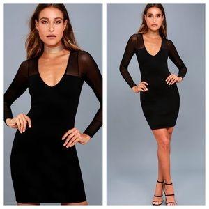 Lulu's Parisian Nights Black Mesh Sleeves Dress